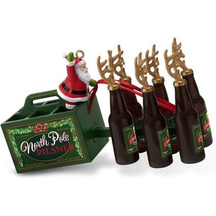 Santa's sleigh but with beer instead of deer