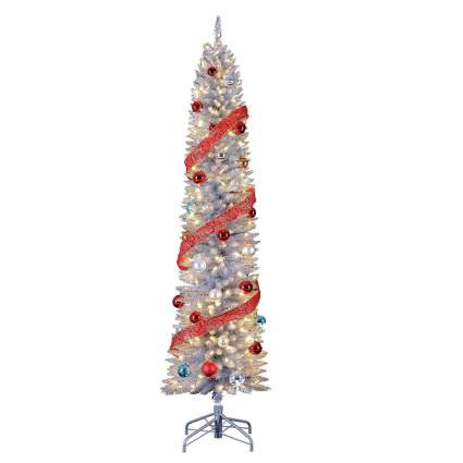 Silver pencil Christmas tree with red ornaments
