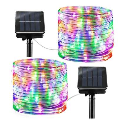 Rainbow colored solar rope lights