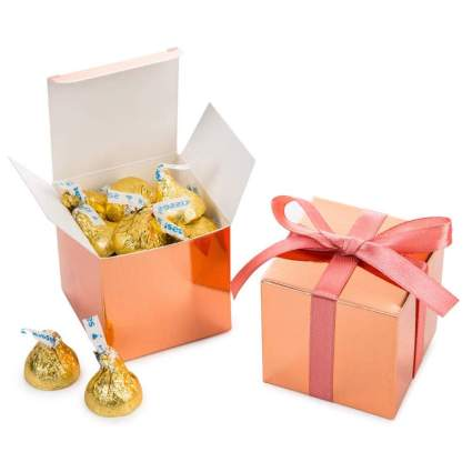 Rose gold candy boxes