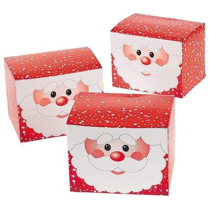 Boxes with Santa's face on them