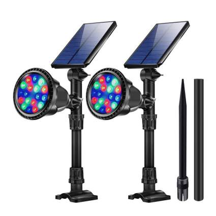 Projector lights with solar panels