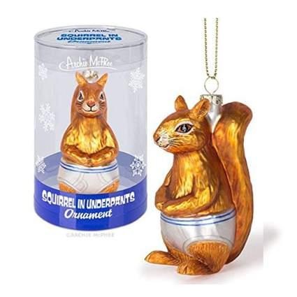 Squirrel in underwear ornament