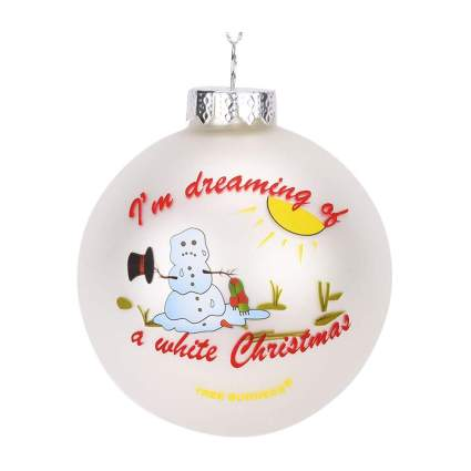 Ornament with dying snowman