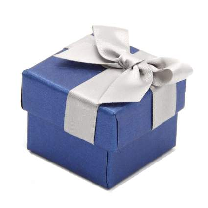Blue ring box with bow