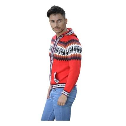 red alpaca zip front hooded cardigan