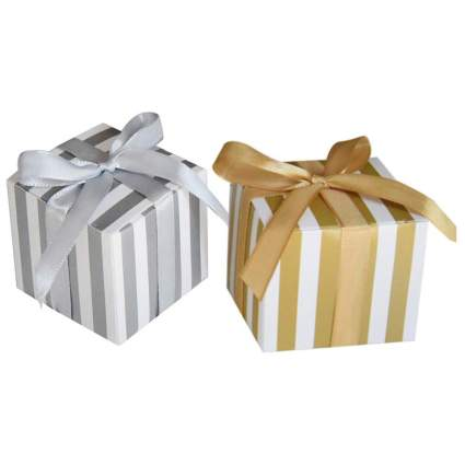 silver and gold striped boxes