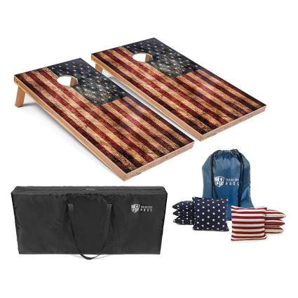 american flag cornhole game set