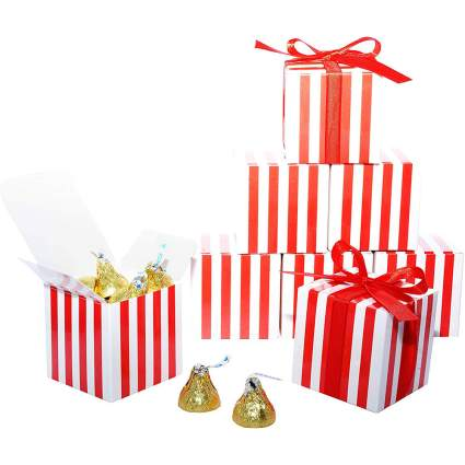 Red and white striped gift boxes