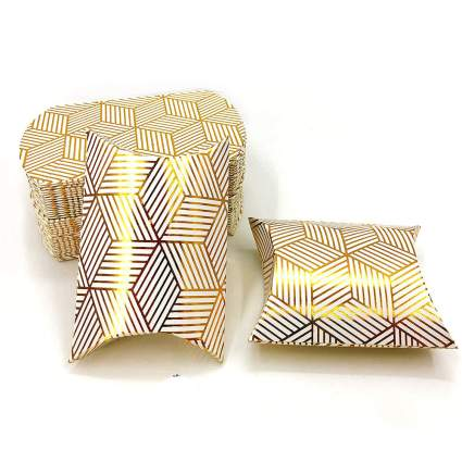 Geometric gold gift boxes