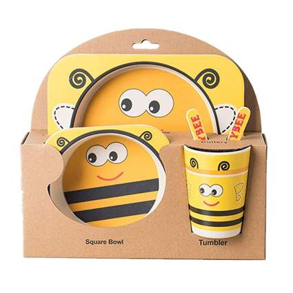 bee print bambo toddler dishes and utensils