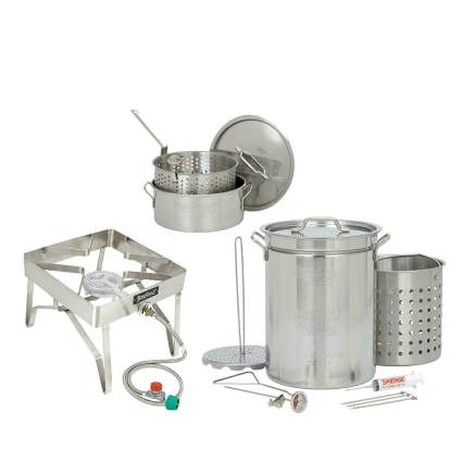 Bayou Classic 32-Quart Complete Stainless Steel Deluxe Turkey Fryer Kit