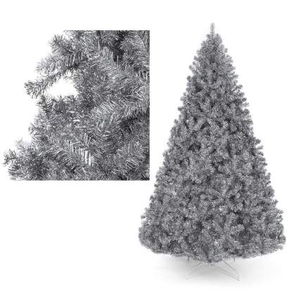 Large silver tinsel tree