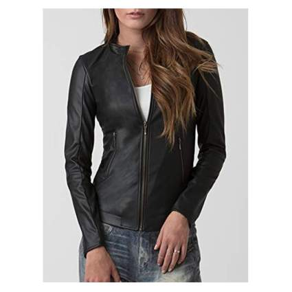 black vegan leather moto jacket