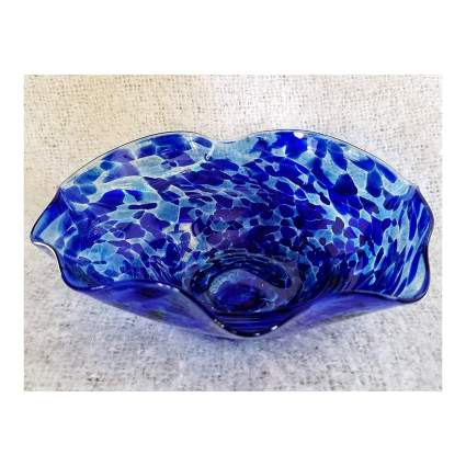 blue art glass wavy bowl