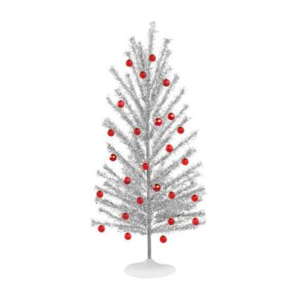 Silver Christmas tree with red ornaments