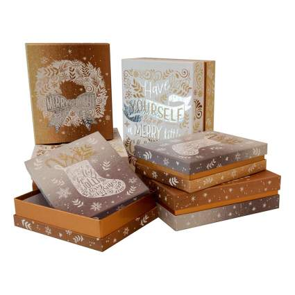 bronze and silver accented christmas gift boxes