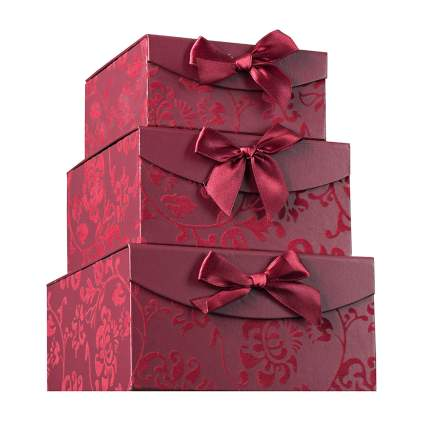 burgundy brocade christmas gift boxes