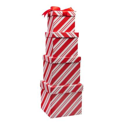 candy cane nesting christmas gift boxes