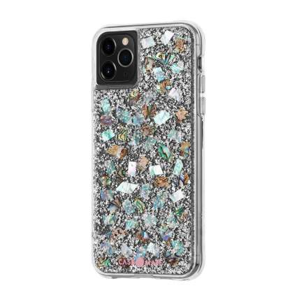 mother of pearl & silver iPhone case