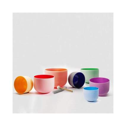Chakra Tuned Set of Seven Color Frosted Quartz Crystal Singing Bowls