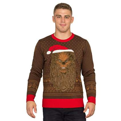 Star Wars Chewbacca Furry Face with Santa Hat Christmas Sweater