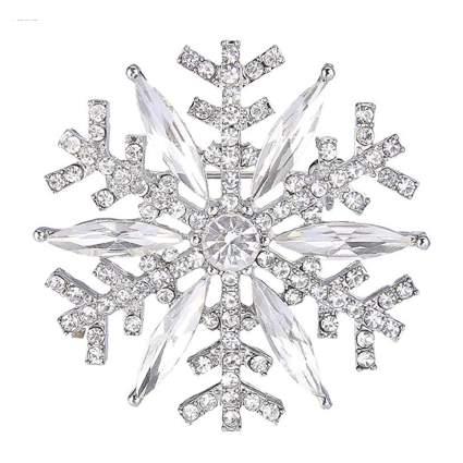 clear crystal snowflake brooch