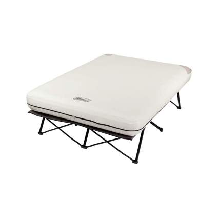 Coleman Folding Camp Cot and Air Bed with Side Tables and Battery Operated Pump