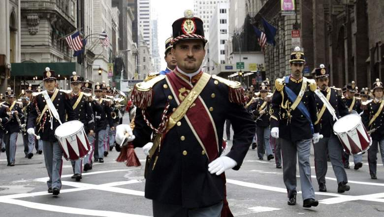 A marching band from Italy appears in the NYC Columbus Day parade