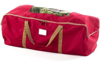 Red duffle back with Chrismas tree inside
