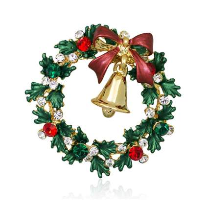 holly wreath and bell christmas brooch