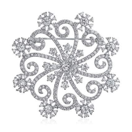 cubic zirconia swirling snowflake brooch
