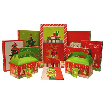 christmas gift box set with tags and tissue