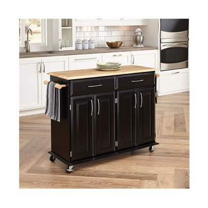 black and bamboo rolling kitchen cart