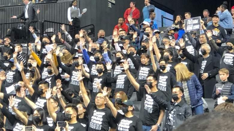 Hong Kong protestors Brooklyn Nets