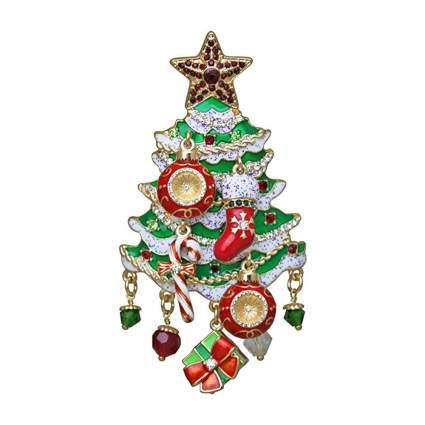 enameled christmas tree brooch