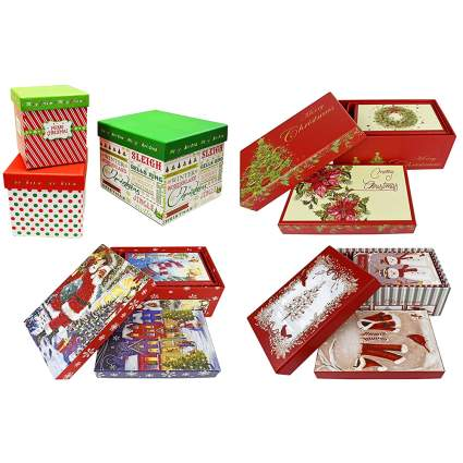 four sets of nesting christmas gift boxes