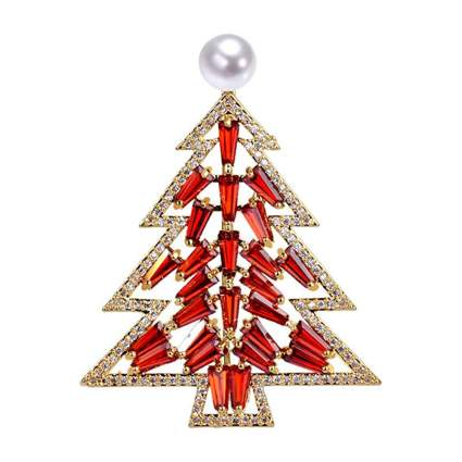 freshwater pearl and crystal christmas tree brooch