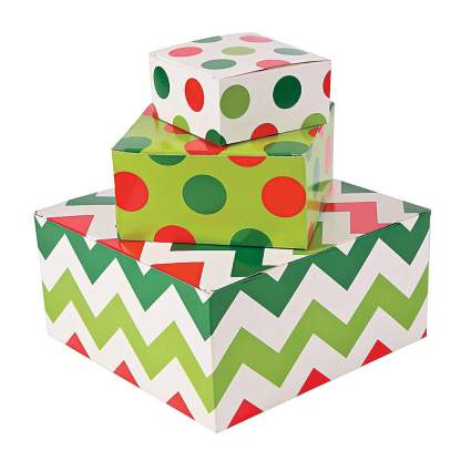polka dot and zig zag pattern gift boxes