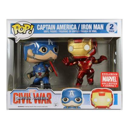 Funko Pop! Marvel: Captain America Civil War - Captain America vs. Iron Man Collector Corps 2-Pack with Protector Case