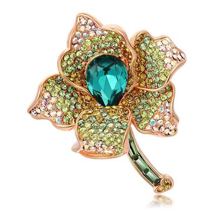 green crystal flower brooch
