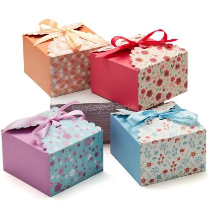 Colorful floral gift boxes