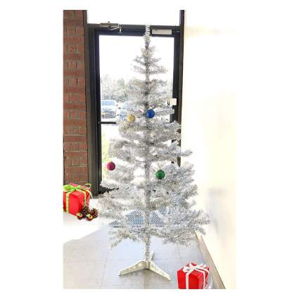 Silver tinsel tree in shop