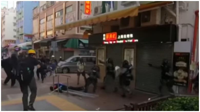 hong kong protester shot