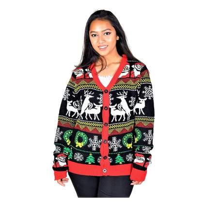 humping reindeer christmas cardigan