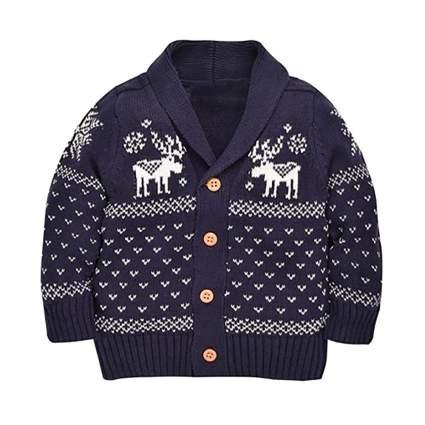 infant reindeer cardigan