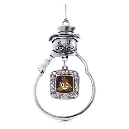 Snowman with poop emoji ornament