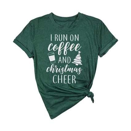 i run on coffee and christmas cheer shirt