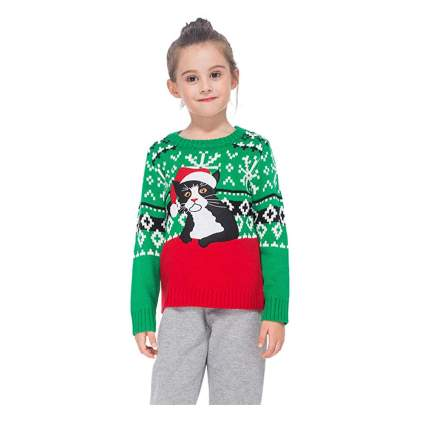 green and red kids cat christmas sweater