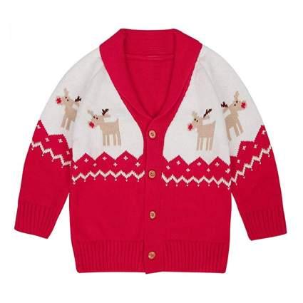 little kids reindeer cardigan